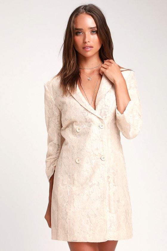 Ronan Beige Lace Double Breasted Blazer Dress by Lulus