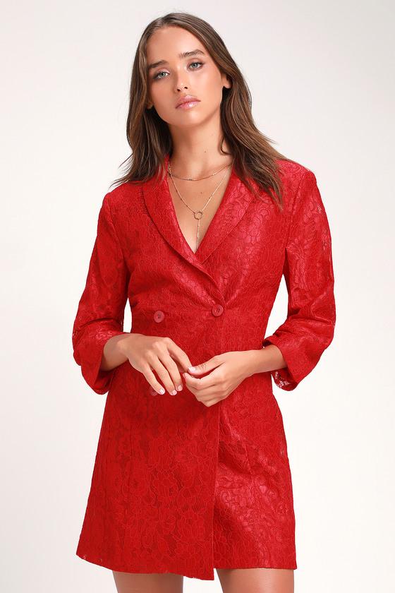 7f489d8816f Cute Blazer Dress - Lace Blazer Dress - Red Lace Blazer Dress