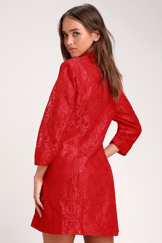 1c7ad5bb983d Cute Blazer Dress - Lace Blazer Dress - Red Lace Blazer Dress