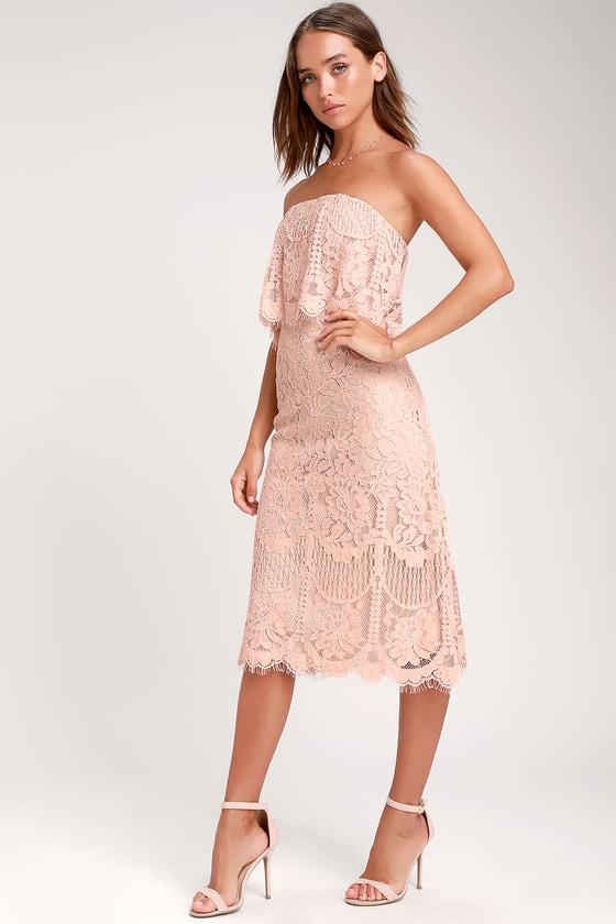 Delia Blush Pink Lace Strapless Midi Dress