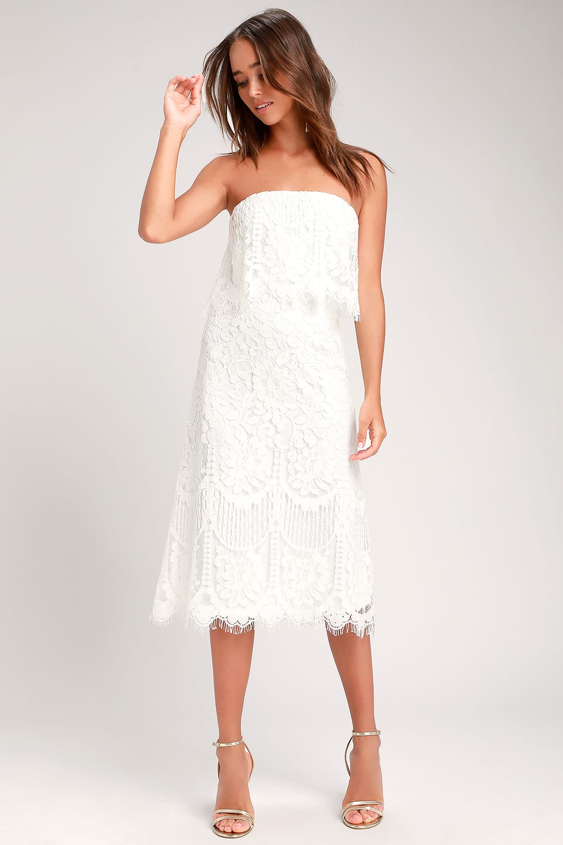 Delia White Lace Strapless Midi Dress