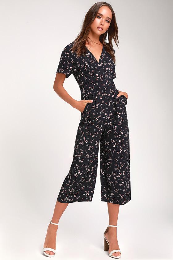 cd79de7e752a Navy Blue Floral Print Jumpsuit - Culotte Jumpsuit - Jumpsuit