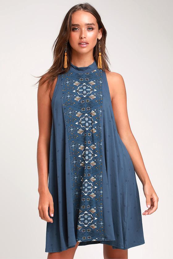 4e1e3ab6aa O'Neill Leslie Dress - Denim Blue Dress - Boho Swing Dress