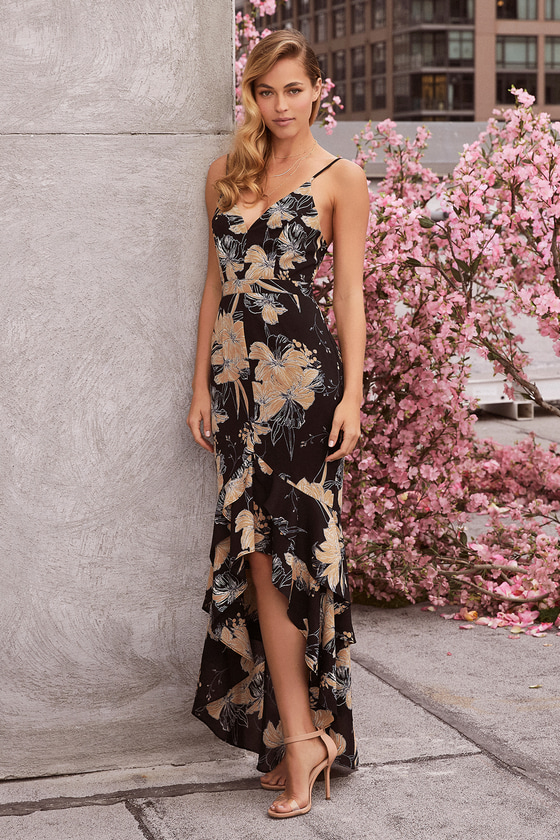 3ac3c5224b524 Elegant Floral Print High-Low Dress - Black Floral Dress
