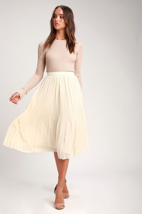 professional release info on preview of You're On My Mind Ivory Pleated Swiss Dot Midi Skirt