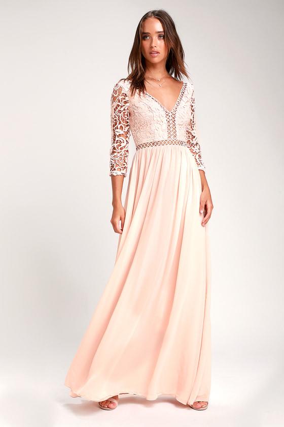 3c9142d7f1 Stunning Chiffon Maxi Dress - Blush Maxi Dress - Lace Dress