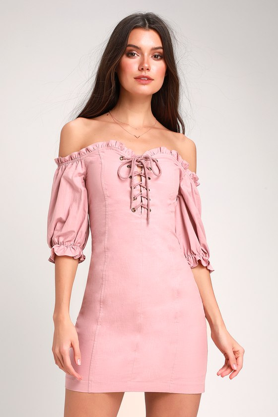 744143a5be Cute Mauve Pink - Off-the-Shoulder Dress - Lace-Up Dress