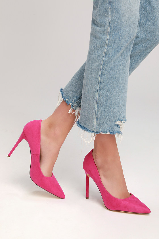 Fuschia suede pumps