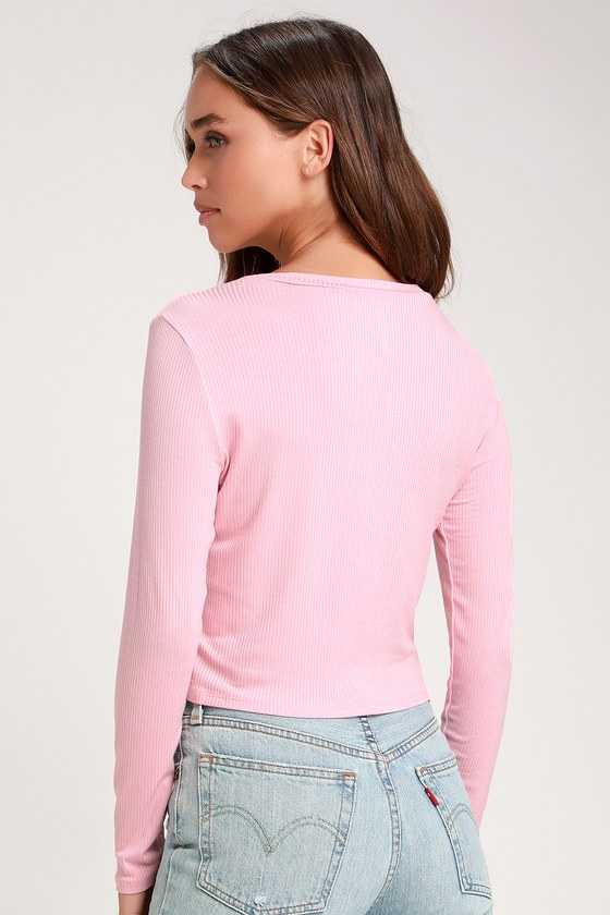 e0aa7d7fb29d8 Light Pink Top - Crop Top - Long Sleeve Top - Ribbed Knit Top
