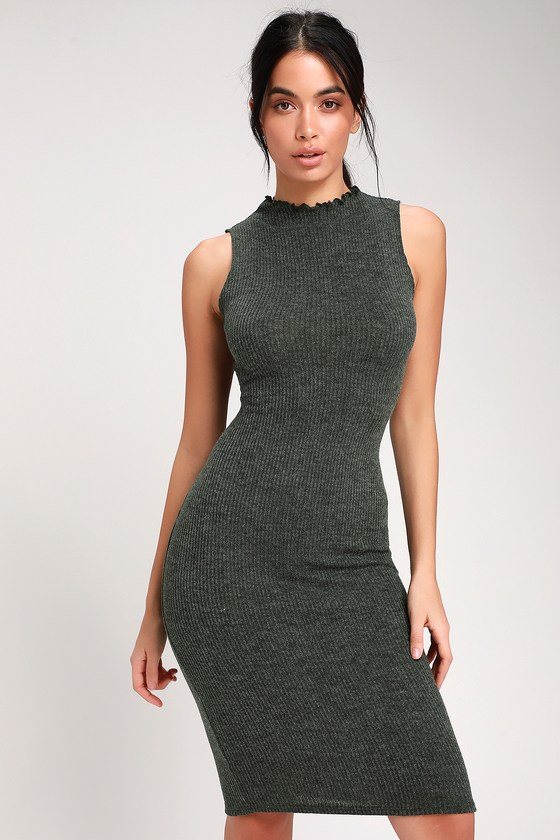 f67cf4074a0 Stay in Style Dark Olive Green Ribbed Knit Mock Neck Midi Dress