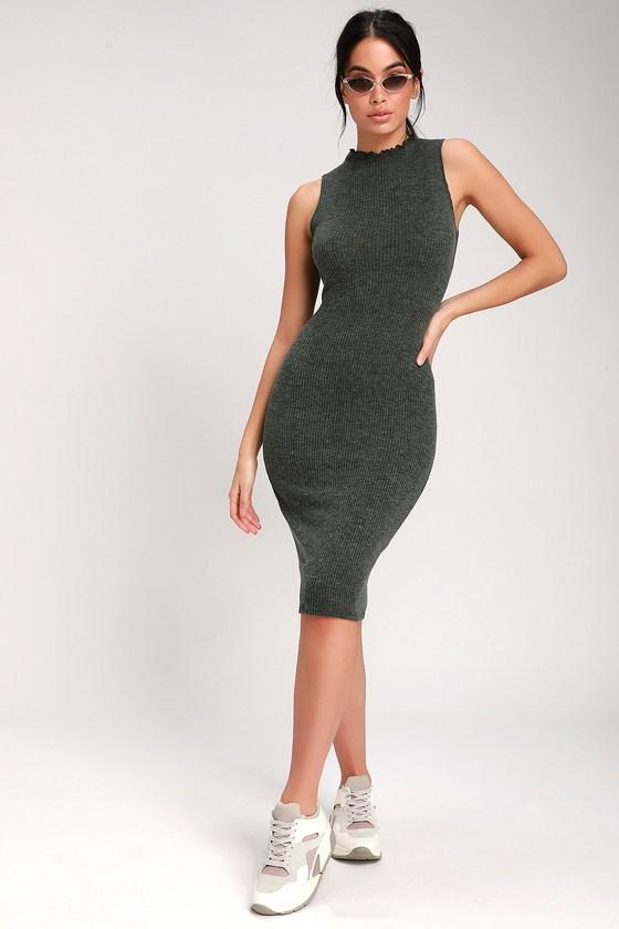1ab8675b788b Stay in Style Dark Olive Green Ribbed Knit Mock Neck Midi Dress