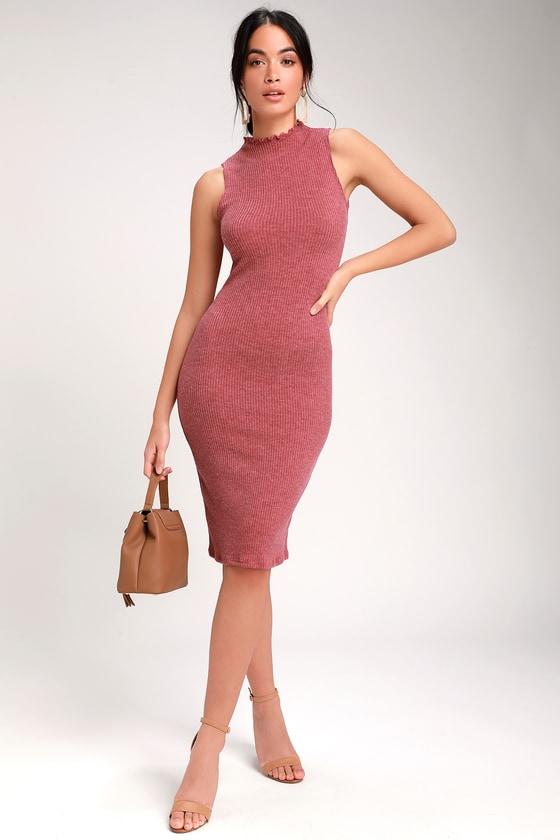 c510ba889417c Cute Rusty Rose Dress - Midi Dress - Mock Neck Dress