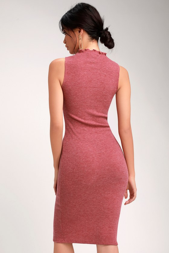 275f65e6bc17 Stay in Style Rusty Rose Ribbed Knit Mock Neck Midi Dress
