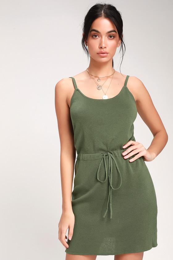 16cfbcd7cc Cute Olive Green Dress - Drawstring Knit Dress - Knit Mini Dress