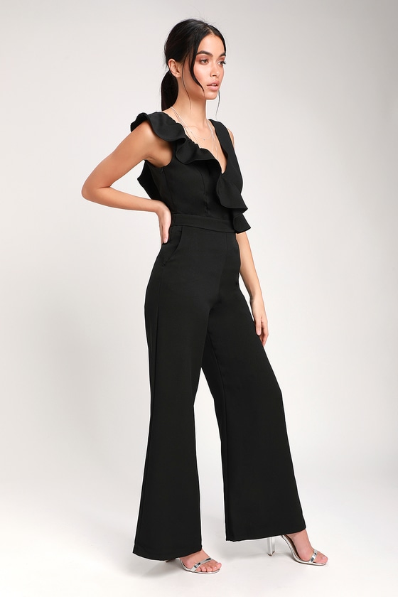 Vintage High Waisted Trousers, Sailor Pants, Jeans Sure to Be Seen Black Sleeveless Ruffled Jumpsuit - Lulus $68.00 AT vintagedancer.com