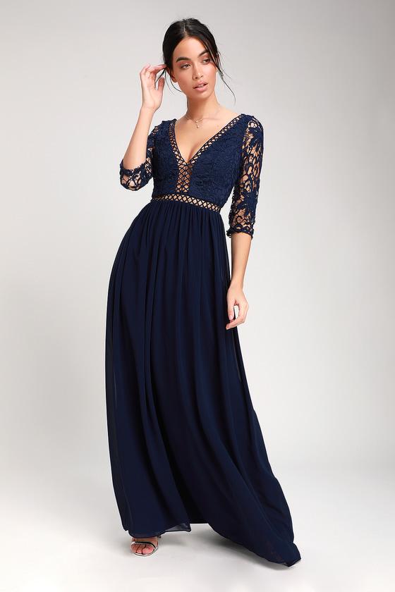 a634bd59dfc8a Avalynn Navy Blue Three-Quarter Sleeve Lace Maxi Dress
