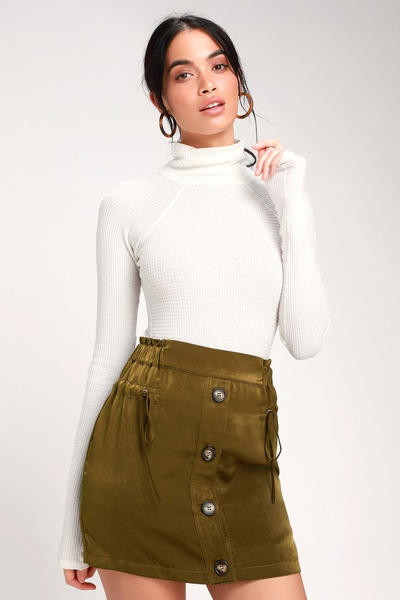 9b99b6abc41 Sessaly Olive Green Satin Button-Front Mini Skirt