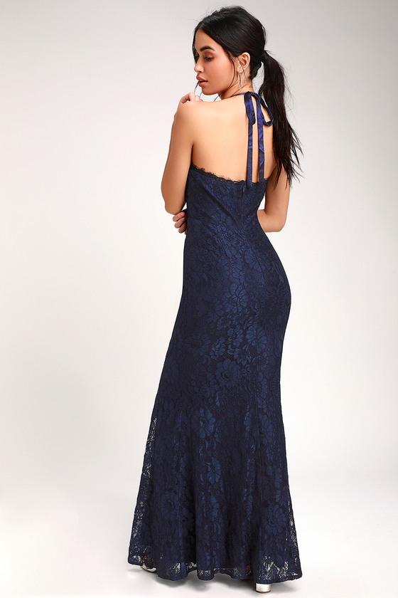 549e173ab90 Glam Navy Blue Dress - Lace Maxi Dress - Halter Lace Maxi Dress