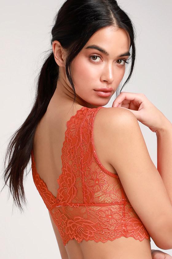 d562f285454ab Sexy Coral Orange Bralette - Lace Bralette - Sheer Bralette