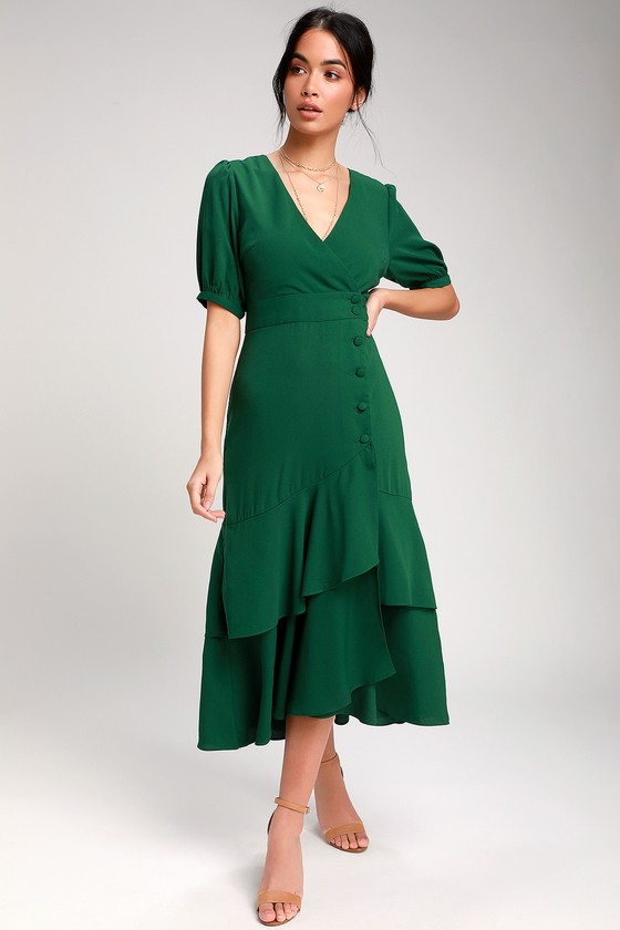 3bd6c969c5e Made My Day Forest Green Button-Up Short Sleeve Midi Dress