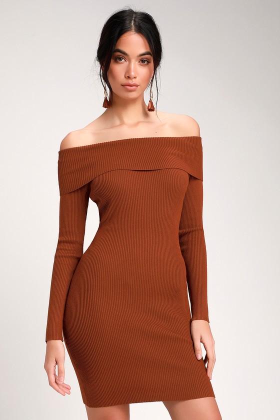 e271df544dd Cute Sweater Dress - Rust Brown Dress - Bodycon Dress