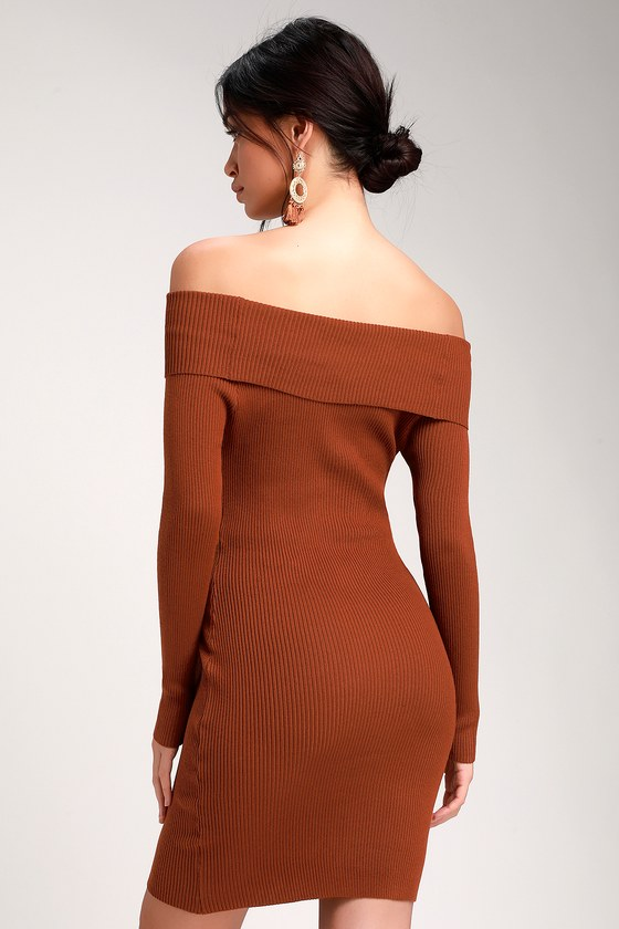 bbbefb2bd25 Mademoiselle Rust Brown Ribbed Off-the-Shoulder Bodycon Dress