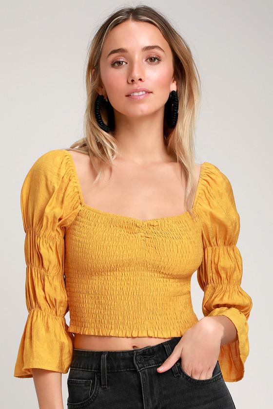 24d69b3c7046dc Mustard Yellow Crop Top - Smocked Crop Top - Puff Sleeve Crop Top