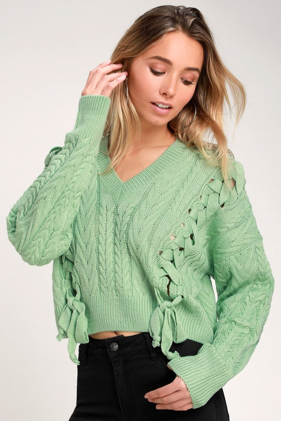Lace Mint Sweater