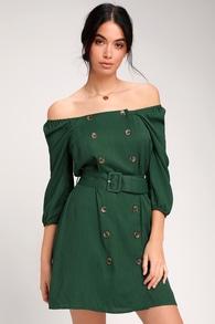 9b19a08023 Cute Olive Green Dress - Off-the-Shoulder Dress - Lace-Up Dress
