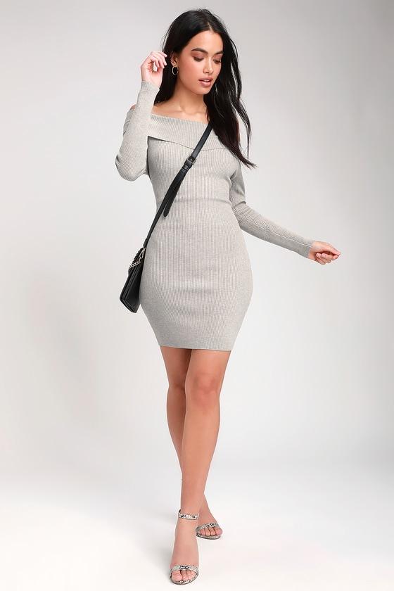 c69a01d05e9d Cute Sweater Dress - Light Grey Dress - Bodycon Dress