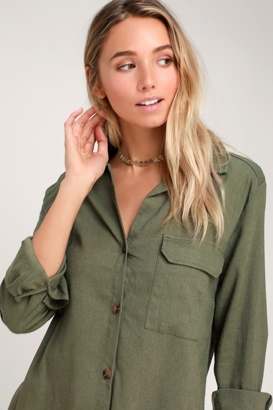 072b52471c45e Merriment Olive Green Long Sleeve Button-Up Top