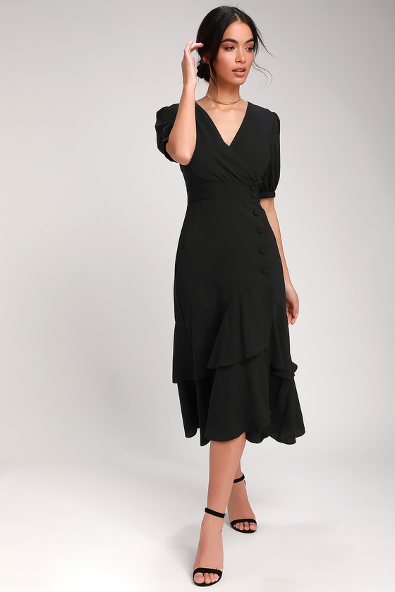History of 1920s Day Dresses – Shop Day Dresses Made My Day Black Button-Up Short Sleeve Midi Dress - Lulus $46.00 AT vintagedancer.com