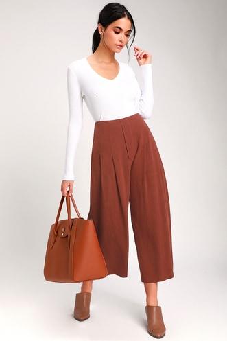 6c8b90cd4d4 LUSH Kylen Rust Brown Wide-Leg Culotte Pants