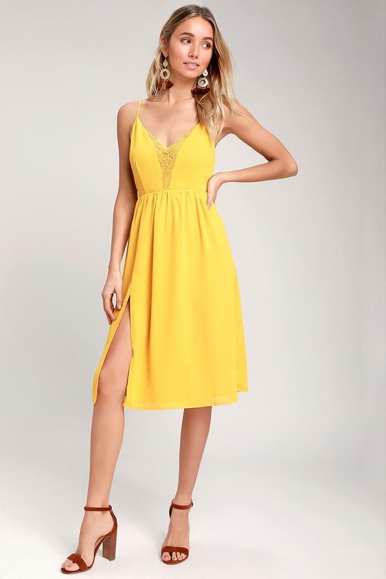 4fff0144ddc Mustard Yellow Backless Midi Dress - Backless Lace Midi Dress