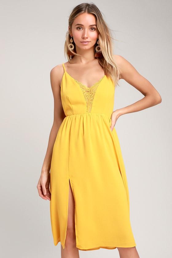 2765d5c4470 Mustard Yellow Backless Midi Dress - Backless Lace Midi Dress