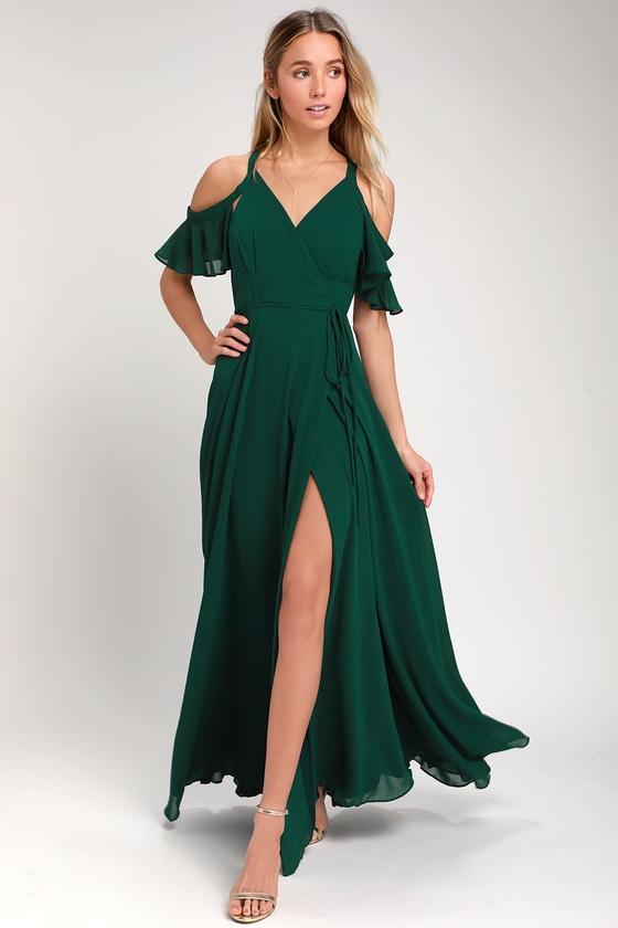 762fce16a Forest Green Dress - Off-the-Shoulder Dress -Wrap Maxi Dress