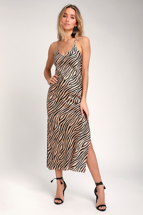 2051ac6c59 Sexy Nude Zebra Print Dress - Backless Maxi Dress - Print Maxi