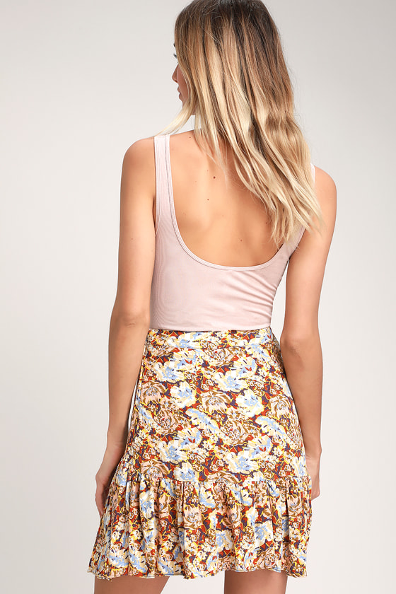 1489e68419 Free People Nadia - Yellow Floral Print Skirt - Ruffled Skirt