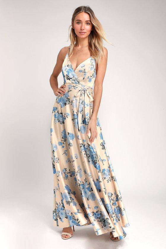 Overjoyed Champagne Satin Floral Print Maxi Dress