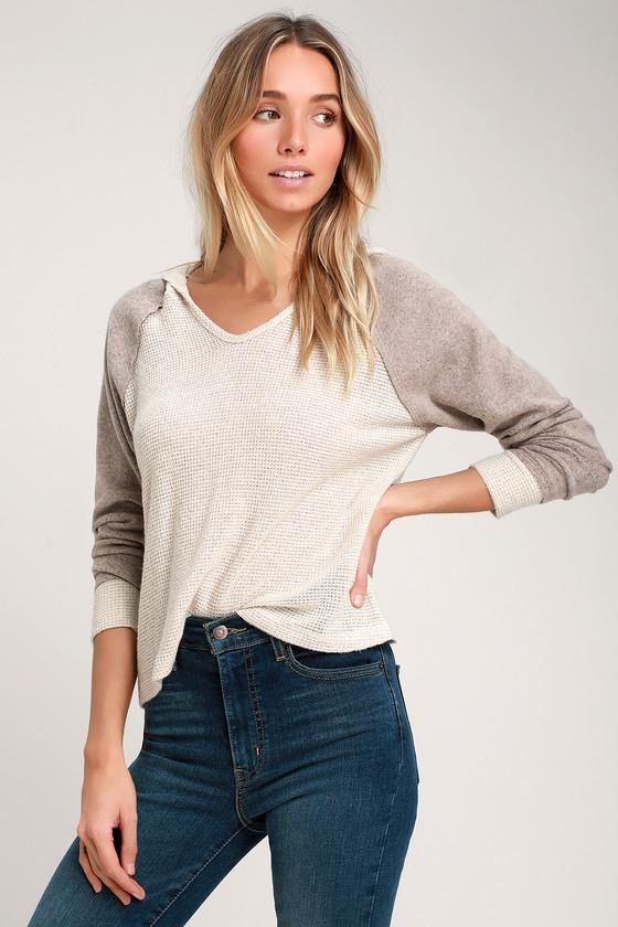 9e6abea3816d5e Cute Sweater Top - Beige Sweater Top - Hooded Sweater Top