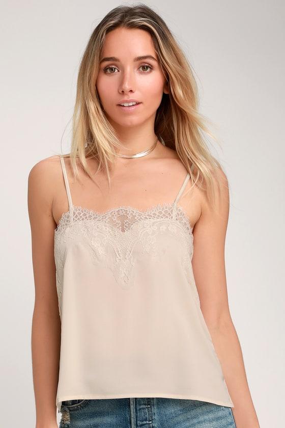 c636456c0c6 Cute Ivory Lace Top - Satin Top - Cami Top - Tank Top