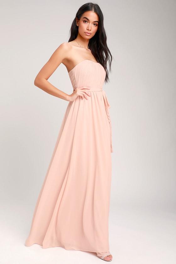 973158406f Glam Blush Pink Dress - Strapless Maxi Dress - Chiffon Maxi Dress