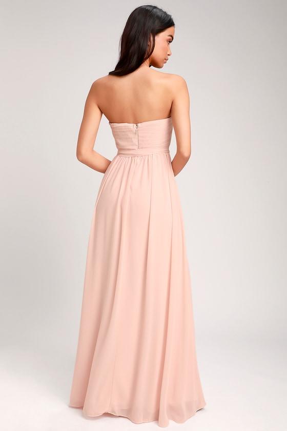 111ac7acccddc Glam Blush Pink Dress - Strapless Maxi Dress - Chiffon Maxi Dress