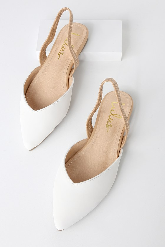 1fcb4a22bc0 Mae White and Nude Pointed-Toe Slingback Flats