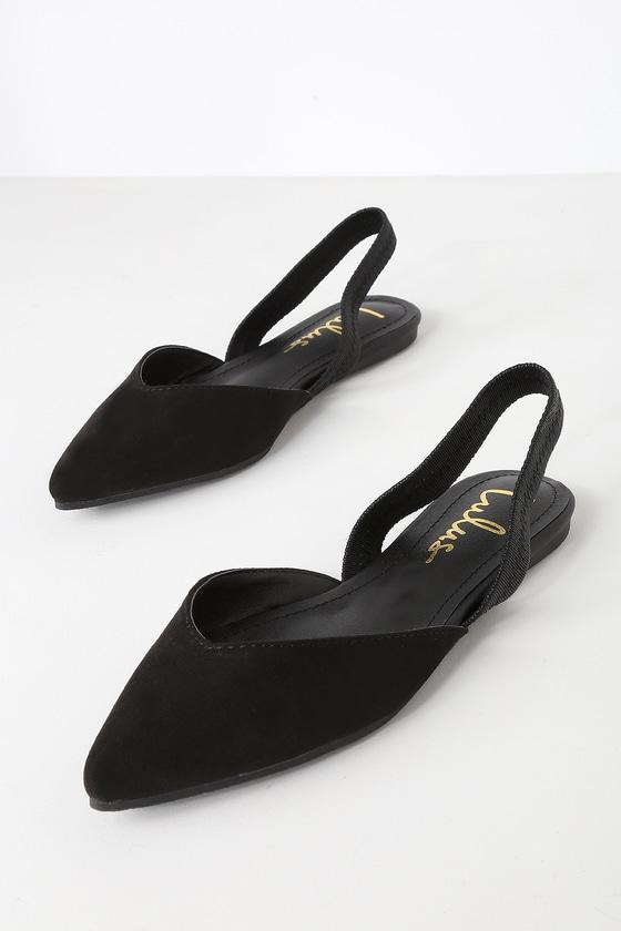 d90f137ba Cute Black Flats - Slingback Flats - Pointed-Toe Flats
