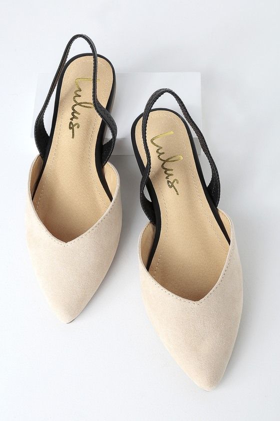 bbff566ce54 Mae Nude and Black Suede Pointed-Toe Slingback Flats