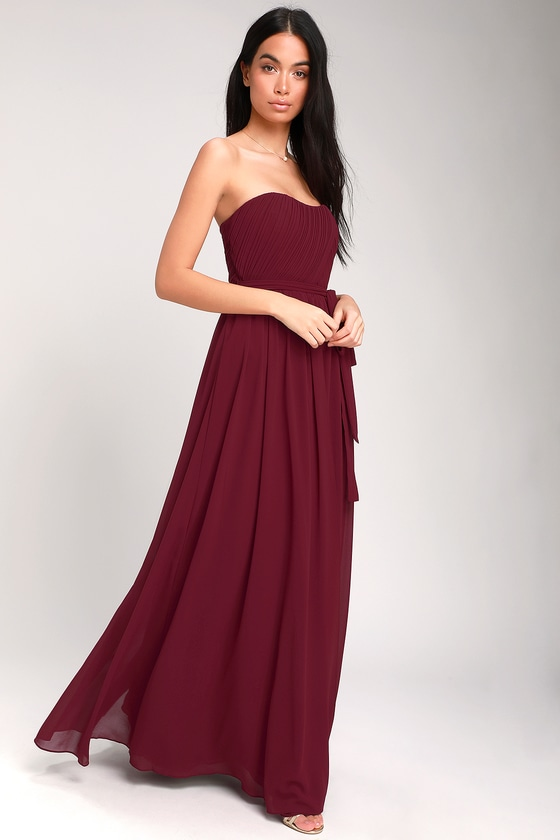 ce63f069f12bd Glam Burgundy Dress - Strapless Maxi Dress - Chiffon Maxi Dress