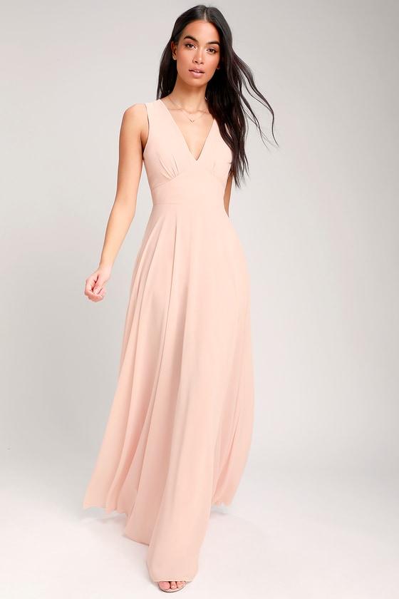 9941d4c7fef0 Blush Pink Maxi Dress - Sleeveless Maxi Dress - A-Line Maxi Dress