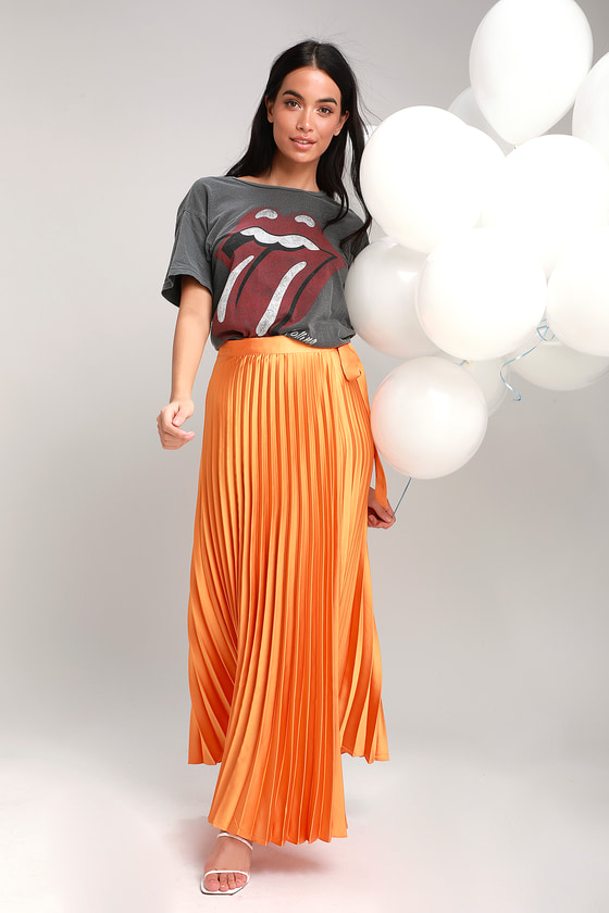 5258853e23 Orange Wrap Skirt - Pleated Maxi Wrap Skirt - Satin Maxi Skirt