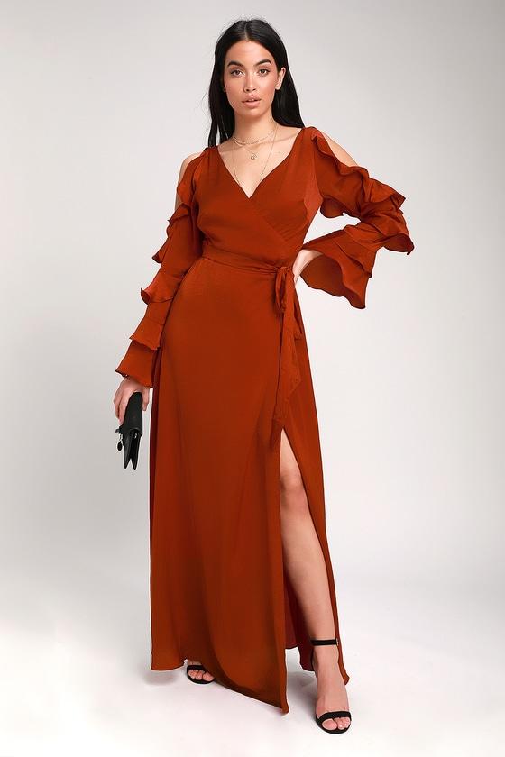 22c71064705 Sexy Rust Red Satin Dress - Satin Wrap Dress - Wrap Maxi Dress